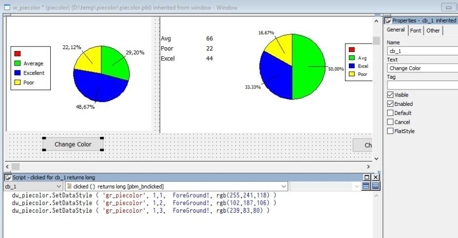 change pie color datawindow chart